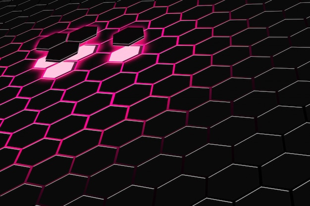 Abstract 3d rendering of futuristic surface with hexagons. dark red sci-fi background.