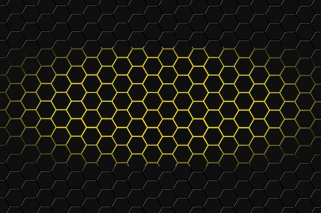 Abstract 3d rendering of futuristic surface with hexagons. dark yellowsci-fi background.