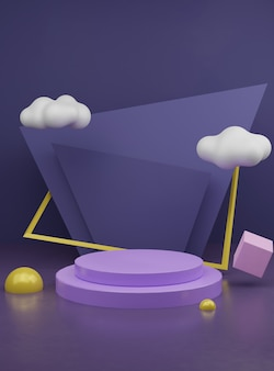 Abstract 3d rendering geometric podium