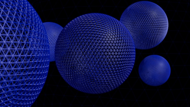 Abstract 3d rendering of geometric shapes. modern background design with spheres