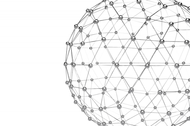 Abstract 3d rendering of low poly metal sphere
