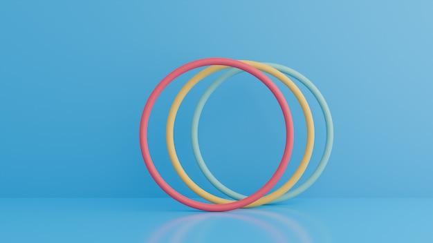 リングの抽象的な3 dレンダリング。サークルの幾何学的形状を持つモダンな背景。
