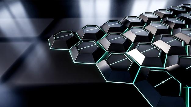Абстрактные 3d-рендеринга иллюстрации черный шестиугольник