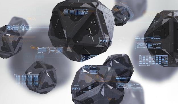 혼란 기하학적 도형의 추상 3d 렌더링입니다. 기술 추상 요소와 미래 구성입니다.