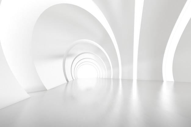 벽에 빛이 있는 빈 미래 아치 터널 룸의 추상 3d 렌더링. 공상 과학 개념입니다.
