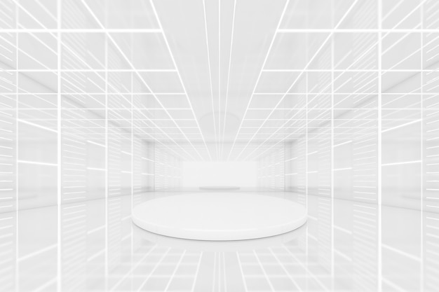 추상적인 3d 렌더링은 빈 미래형 터널 룸과 둥근 연단, 벽에 네온 불빛이 있는 물체 프레젠테이션을 위한 dais입니다. 공상 과학 개념입니다.