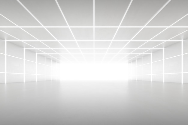 벽에 빛이 있는 빈 미래 터널 룸의 추상 3d 렌더링. 공상 과학 개념입니다.