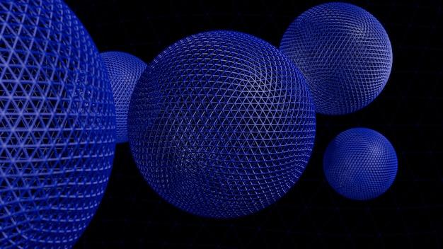 幾何学的形状の抽象的な3 dレンダリング。球を持つモダンな背景デザイン