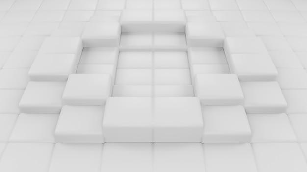 幾何学的な正方形の構成の現代的な背景の抽象的な3dレンダリング