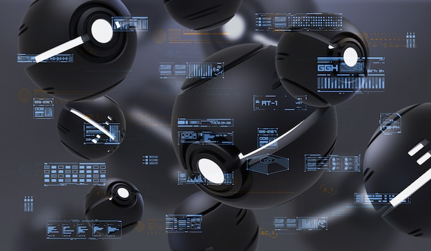 Hud 요소와 구형 nanobots의 추상 3d 렌더링. 기술 추상 요소와 미래 구성입니다.