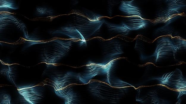 粒子の背景をレンダリングする抽象的な3d、乱流場で変位した線の表面
