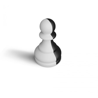 Abstract 3d rendering pawn chess
