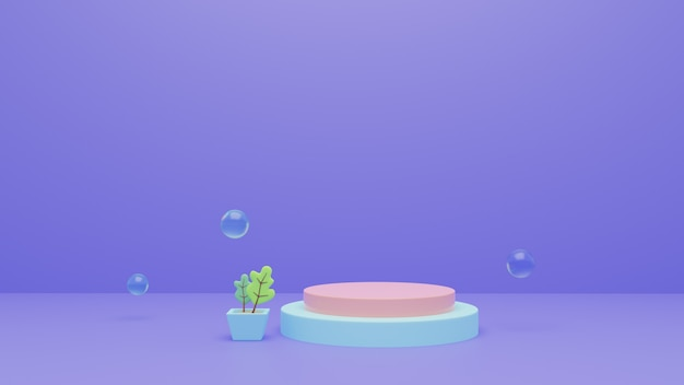 Abstract 3d rendering podium stage background with bubbles. premium photo.