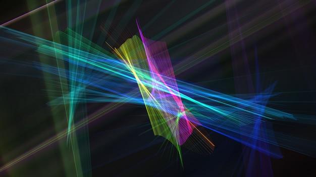 抽象的な3 dレンダリング虹色フラクタルライン背景