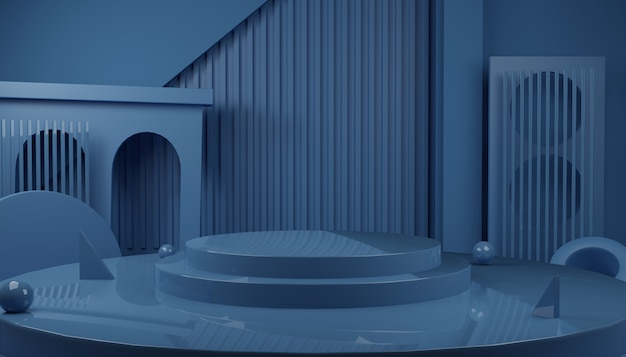 Abstract 3d rendering scene of glossy blue podium stage  for product presentation