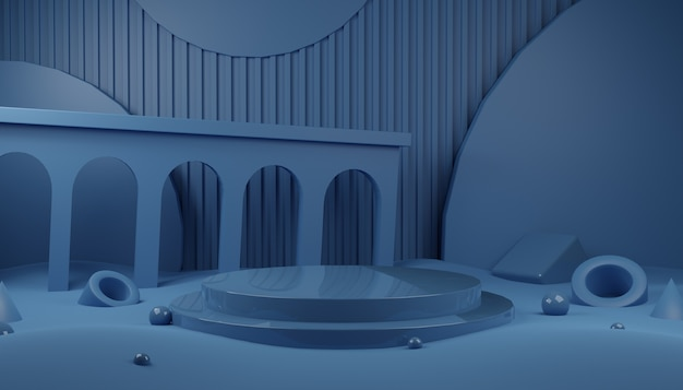 製品プレゼンテーションのための光沢のある青い表彰台ステージの抽象的な3dレンダリングシーン