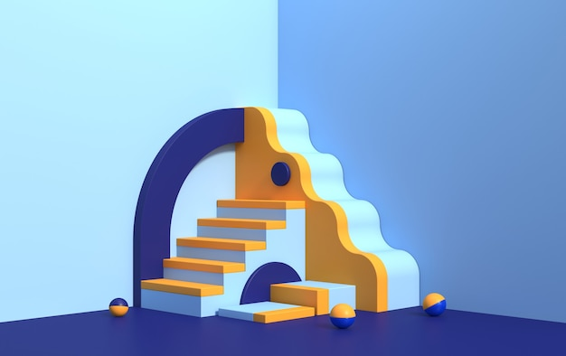 Abstract 3d scene with geometric shapes of different colors, with a podium for product demonstration, render