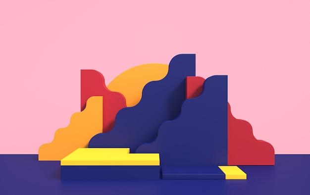 제품 데모를위한 연단과 다른 색상의 기하학적 형태와 추상 3d 장면, 렌더링