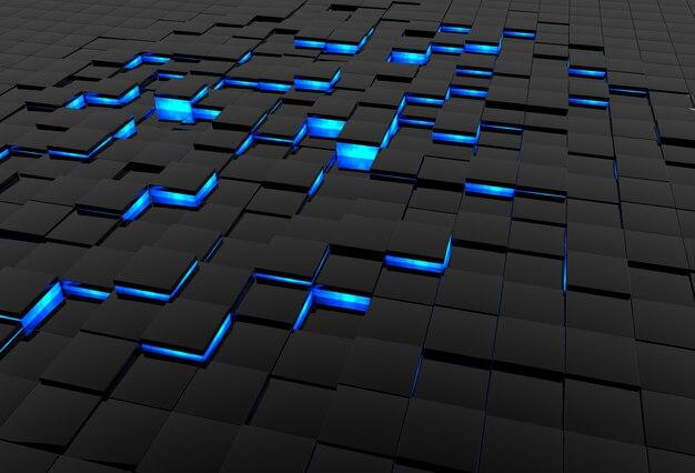 Абстрактная трехмерная поверхность из черной глянцевой плитки со светящимися синими краями