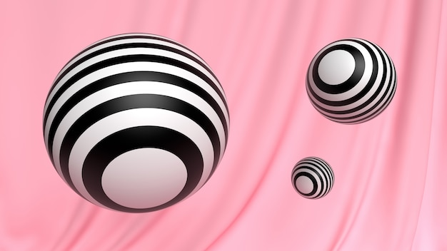 Abstract 3d wallpaper cosmetic ball black and white on pink