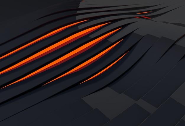 ストライプを通して輝く赤い光と抽象的な3d波状の黒い背景