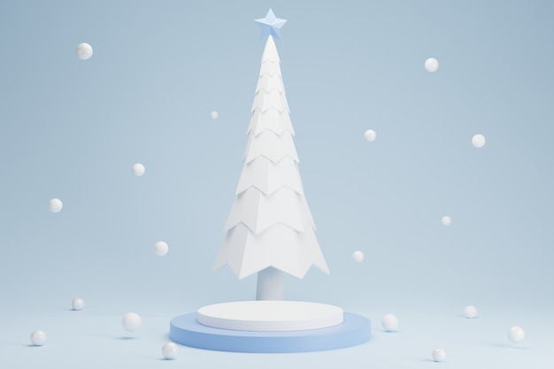 Abstract 3d white blue cylinder pedestal podium with christmas tree in snowfall