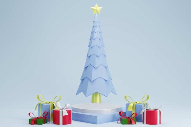 Abstract 3d white blue square pedestal podium with christmas tree and presents Premium Photo