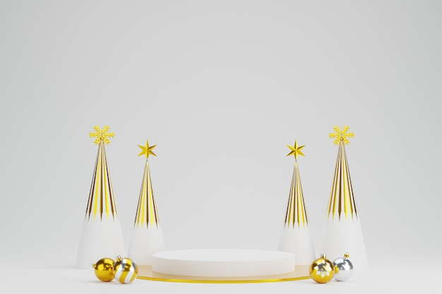 Abstract 3d white gold geometric circle pedestal podium with christmas tree and balls