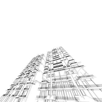 抽象的な3dワイヤーフレームアーキテクチャ。