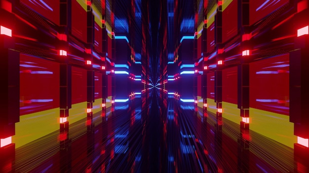 Abstract 4k uhd 3d illustration of bright colorful neon lights forming tunnel in colors of german flag
