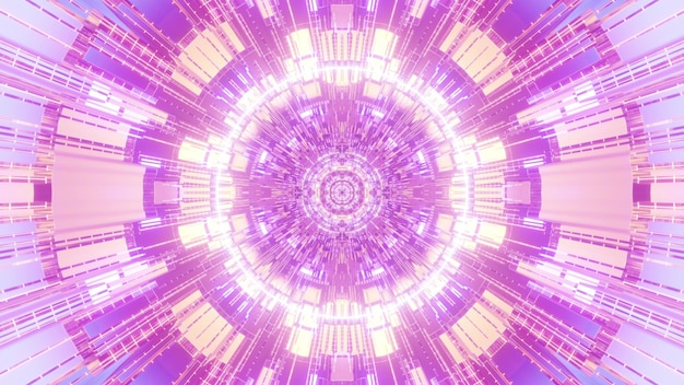 Abstract 4k uhd 3d illustration visual background design with geometric circular cells forming fractal ornament in pink and purple neon colors