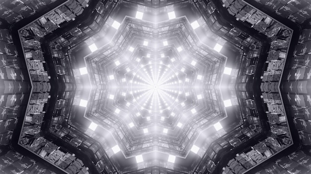 Abstract 4k uhd 3d rendering illustration futuristic background of sci fi tunnel perspective with symmetric geometric interior design and glowing lights reflecting in metallic cells