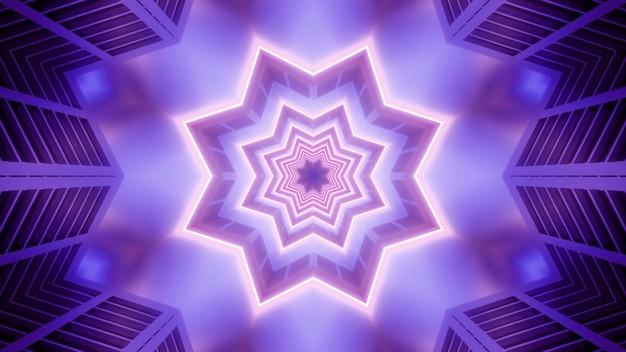 Абстрактный 4k uhd неоновая звезда туннель 3d иллюстрации фона дизайн