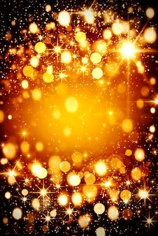 블랙에 황금 bokeh 빛의 반짝이와 추상 추상 크리스마스 배경