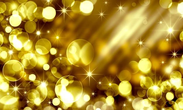 흐릿한 황금빛 보케와 별의 반짝임이 있는 추상 추상 크리스마스 배경