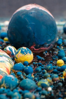 Abstract acrylic balls in different colors