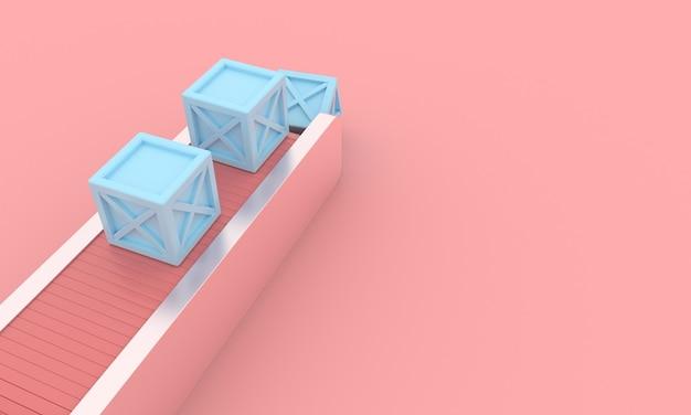 青いボックスまたはパッケージと抽象的な空港コンベヤーローダーベルト