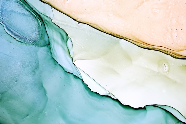 Abstract alcohol ink painting, macro photo