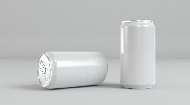Abstract aluminum soda cans presentation