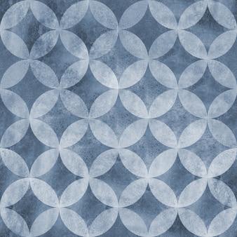 抽象的な古代グランジオーバーラップサークルシームレスパターン。水彩手描きの青い海軍のテクスチャ背景。水彩の幾何学的な球形の要素。テキスタイル、壁紙、ラッピング用に印刷