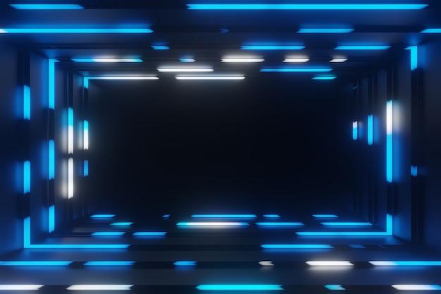 Абстрактная анимация неоновая синяя рамка туннель фон 3d-рендеринг