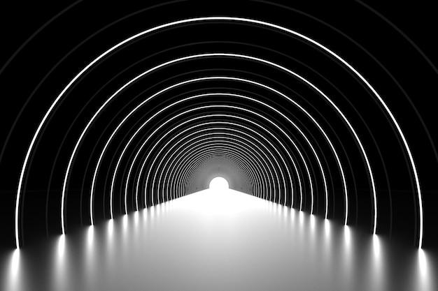 추상 아치 연단 방법 관점 배경 3d 렌더링