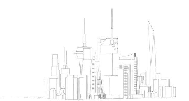 抽象的な建築図面スケッチ、イラスト、都市の景観