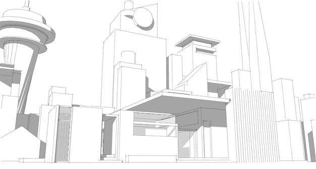 추상적 인 건축 도면 스케치, 그림