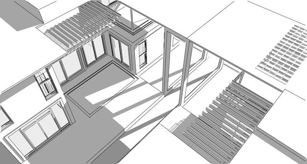Абстрактный архитектурный рисунок эскиз, иллюстрация