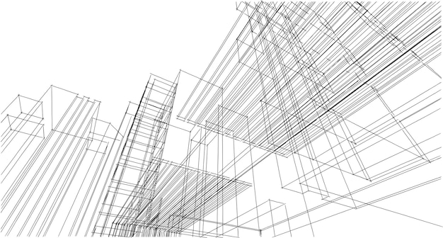 抽象的な建築図面スケッチ、イラスト
