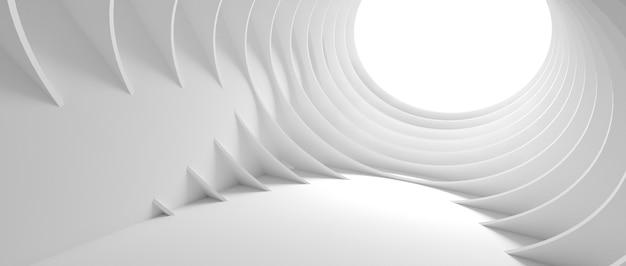 추상적 인 아키텍처 배경입니다. 흰색 원형 건물의 3d 일러스트입니다. 현대 기하학적 배경 화면. 미래 기술 설계. 3d 렌더링