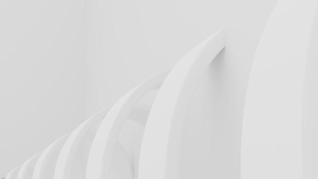 抽象的なアーキテクチャの背景。白い円形の建物の3dイラスト。現代の幾何学的な壁紙。未来のテクノロジーデザイン