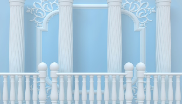 Abstract architecture background wallpaper blue shades 3d illustration