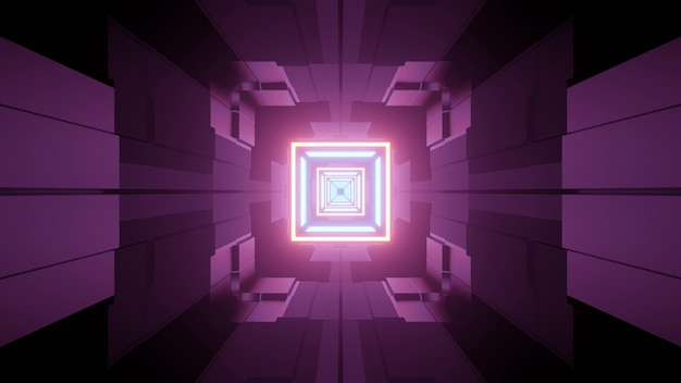 Abstract architecture futuristic style 3d illustration of underground corridor with geometric shapes and glowing neon lines